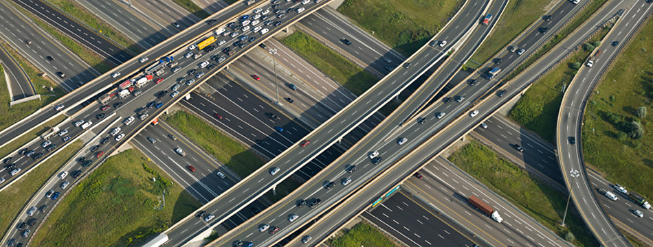 Aerial photo of a motorway junction